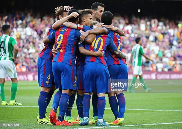 FC Barcelona players celebration during La Liga match between FC Barcelona v Betis in Barcelona on August 20 2016