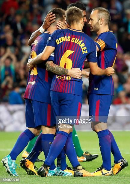 FC Barcelona players celebration during La Liga match between FC Barcelona v SC Eibar in Barcelona on September 19 2017