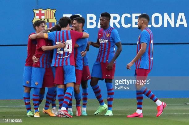 Barcelona players celebration during the friendly match between FC Barcelona and Club Gimnastic de Tarragona, played at the Johan Cruyff Stadium on...