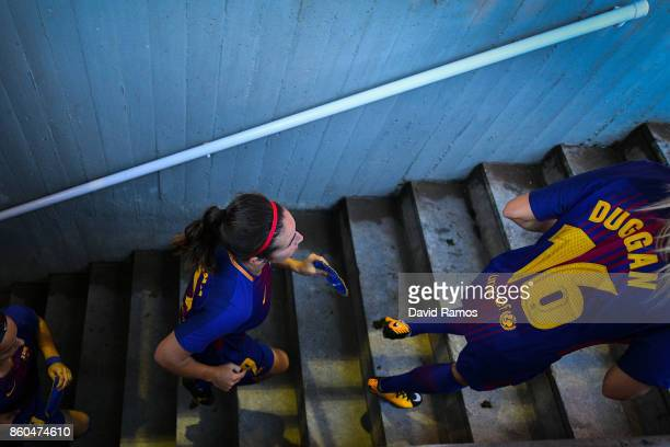 Barcelona players leave the tunnel prior to the UEFA Womens Champions League round of 32 match between FC Barcelona and Avaldsnes at the Mini Estadi...