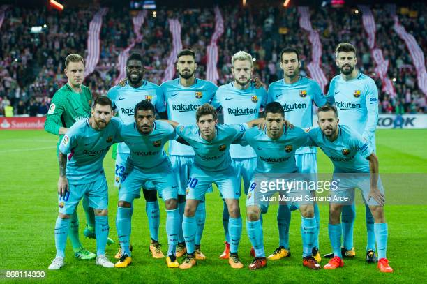 Barcelona players line up for a team photo prior to the start of the La Liga match between Athletic Club Bilbao and FC Barcelona at San Mames Stadium...