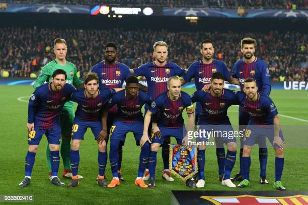 Barcelona players line up for the team photos prior to the UEFA Champions League Round of 16 Second Leg match FC Barcelona and Chelsea FC at Camp Nou...