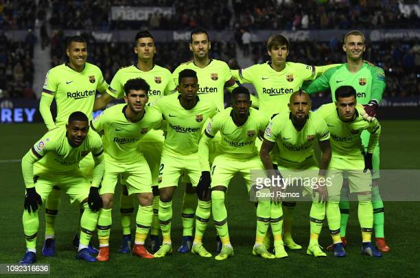Barcelona players line up prior to the Copa del Rey Round of 16 match between Levante and FC Barcelona at Ciutat de Valencia on January 10 2019 in...