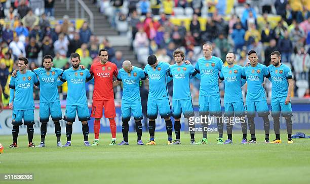 Barcelona players lineup prior to the start of the La Liga match between UD Las Palmas and FC Barcelona at Estadio Gran Canaria on February 20 2016...