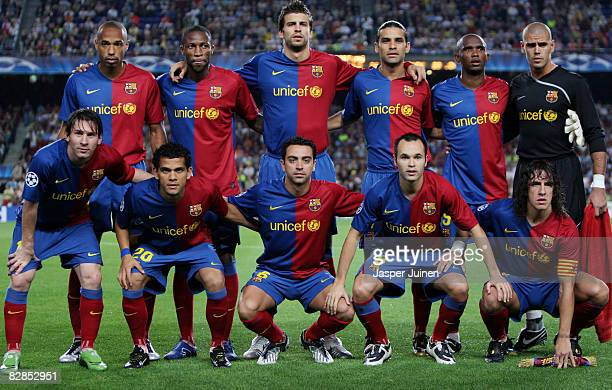 Barcelona players Lionel Messi Daniel Alves Xavier Hernandez Andres Iniesta Carles Puyol and Thierry Henry Seydou Keita Gerard Pique Rafael Marquez...