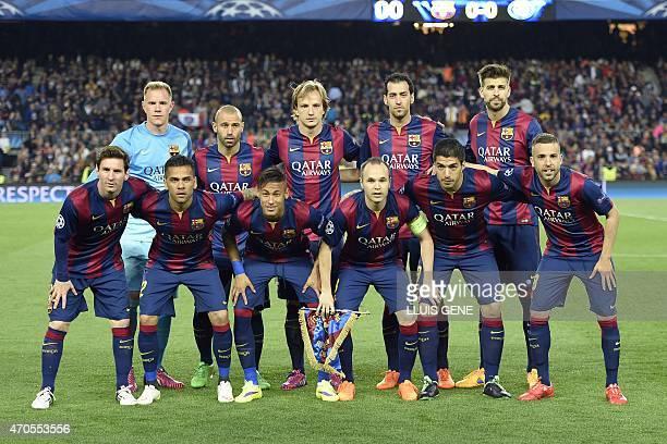 Barcelona players pose before the UEFA Champions League quarter-finals second leg football match FC Barcelona vs Paris Saint-Germain at the Camp Nou...
