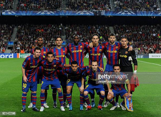 Barcelona players pose for a team photograph prior to the UEFA Champions League group F match between FC Barcelona and FC Rubin Kazan at the Camp Nou...
