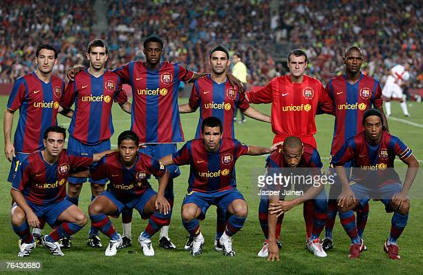 Barcelona players pose for a team picture during the Gamper Trophy match between Barcelona and Inter Milan at the Nou Camp Stadium on August 29 2007...