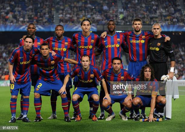 Barcelona players pose for a team picture prior to the Champions League group F match between Barcelona and Dynamo Kiev at the Camp Nou Stadium on...