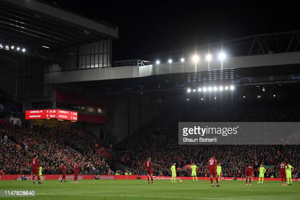 Barcelona players prepare to kick off after Liverpool's fourth goal during the UEFA Champions League Semi Final second leg match between Liverpool...