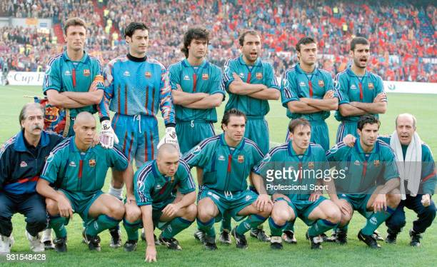 Barcelona pose for a group photo before the European Cup Winners' Cup Final between FC Barcelona and Paris SaintGermain at the Stadion Feijenoord on...