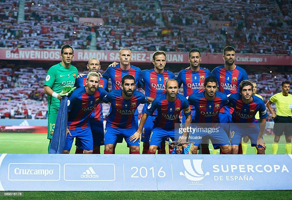 Sevilla FC vs FC Barcelona - Spanish Super Cup Final 1st Leg : News Photo