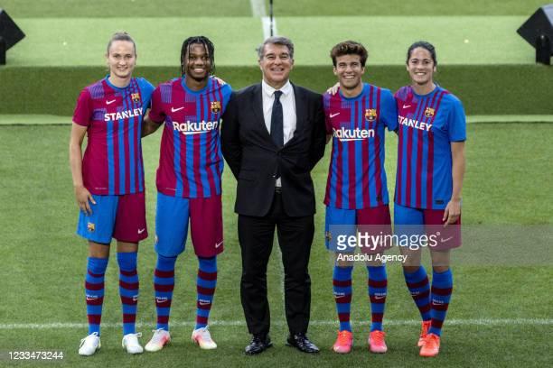 Barcelona president Joan Laporta presents the club´s new kit in Barcelona on June 15, 2021.