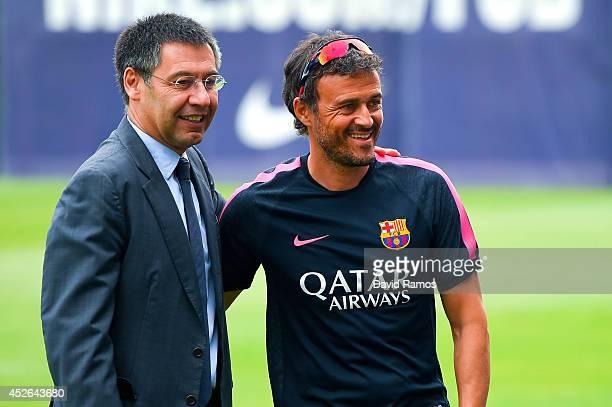 Barcelona President Josep Maria Bartomeu and Head coach Luis Enrique look on during a FC Barcelona training session at Ciutat Esportiva de Sant Joan...