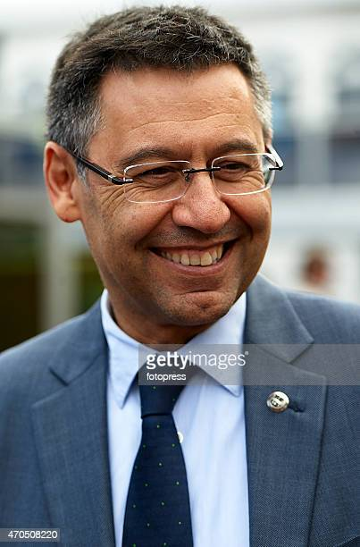 Barcelona president Josep Maria Bartomeu attends day one of Barcelona Open Banc Sabadell at the Real Club de Tenis Barcelona on April 20 2015 in...