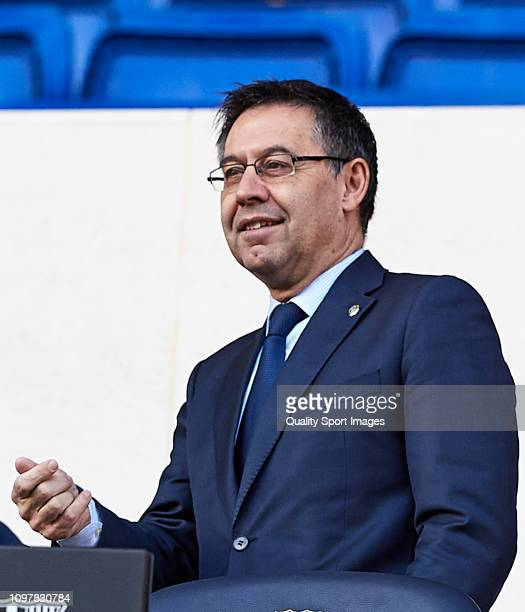 Barcelona president Josep Maria Bartomeu during KevinPrince Boateng's unveiling at Nou Camp on January 22 2019 in Barcelona Spain
