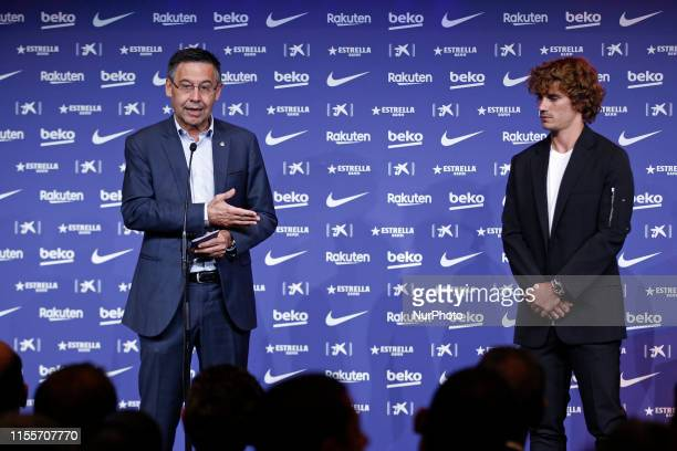 FC Barcelona President Josep Maria Bartomeu during the press conference of Antoine's Griezmann unveiling at Camp Nou on July 14 2019 in Barcelona...