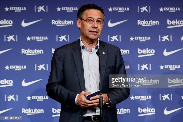 Barcelona President Josep Maria Bartomeu during the press conference of Antoine's Griezmann unveiling at Camp Nou on July 14 2019 in Barcelona Spain