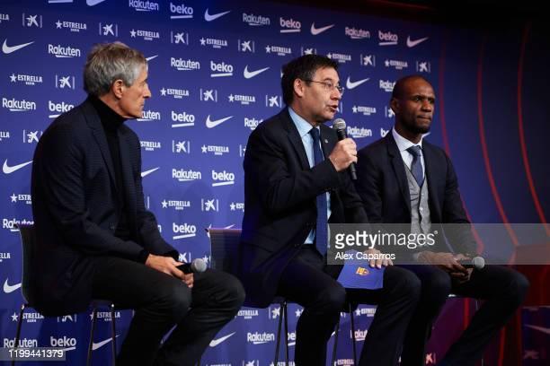 Barcelona President Josep Maria Bartomeu Head Coach Quique Setien and Sporting Director Eric Abidal face the media as Quique Setien is unveiled as...