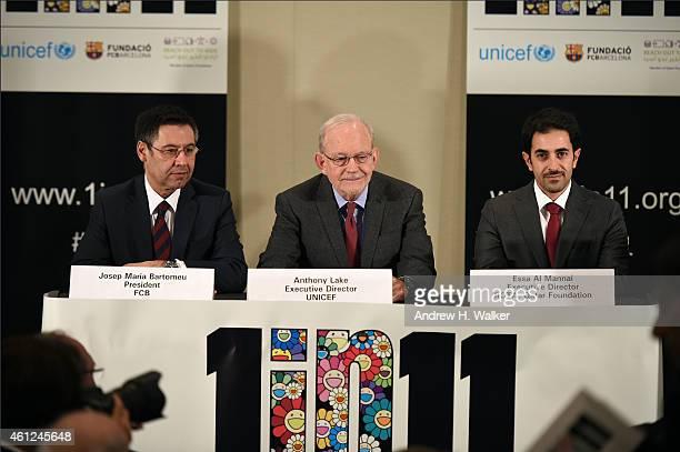 FC Barcelona President Josep Maria Bartomeu UNICEF Executive Director Anthony Lake and ROTA Director Essa Al Mannai support the launch of '1 in 11' a...