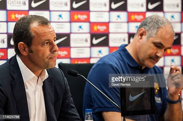 Barcelona President Sandro Rosell and Sports Director Andoni Zubizarreta face the media during a press conference at the Sant Joan Despi Sports...