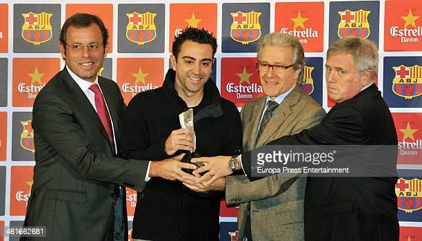 Barcelona president Sandro Rosell attends the 'Fair Play Award' to the football player Xavi Hernandez on January 9 2014 in Barcelona Spain