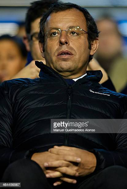 Barcelona President Sandro Rosell looks on during the Copa del Rey Quarter Final First Leg match between Levante UD and FC Barcelona at Ciutat de...