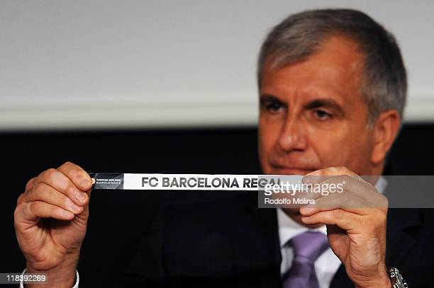 Barcelona Regal is drawn during the Euroleague Basketball 2011 2012 Regular Season And Qualifying Round Draw at Imagina Auditorium on July 7 2011 in...