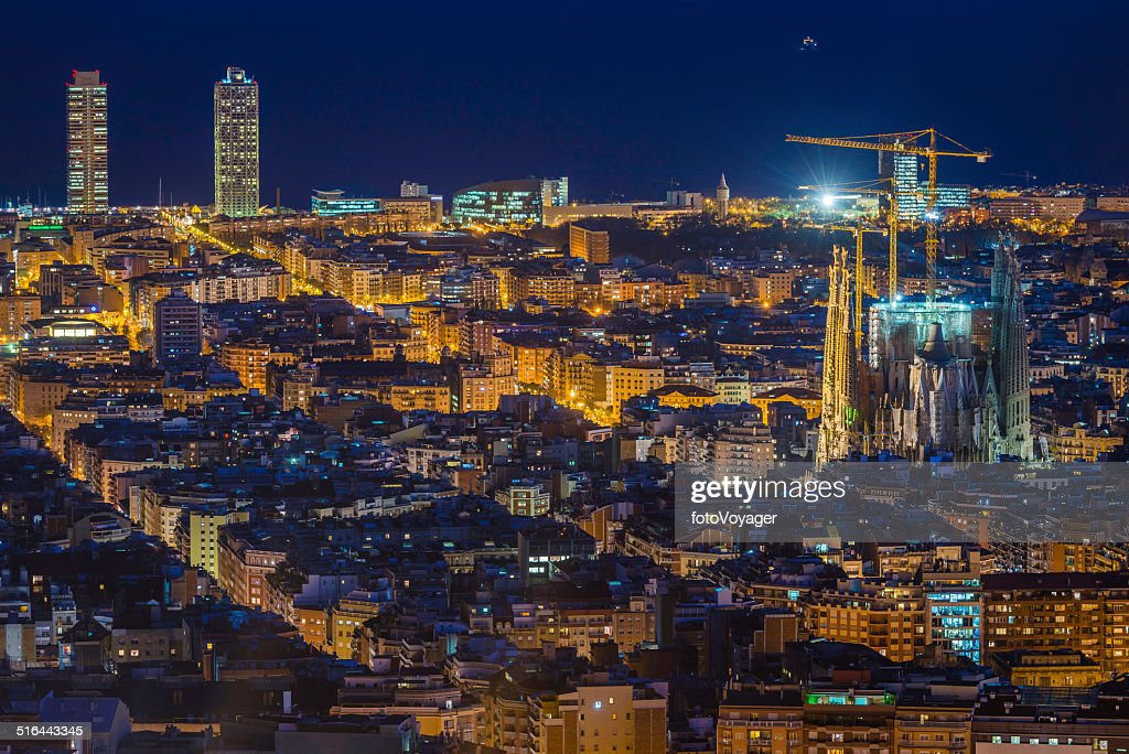 Barcelona Sagrada Familia iconic Gaudi cathedral illuminated at night Spain : Stock Photo