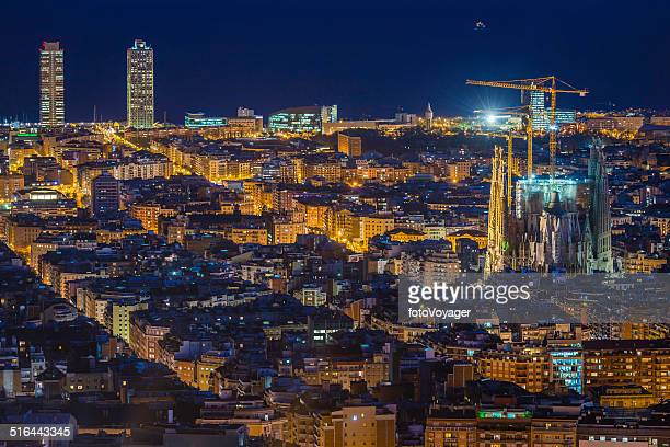 Barcelona Sagrada Familia iconic Gaudi cathedral illuminated at night Spain