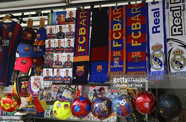 Barcelona scarves postcards and other merchandise for sale in a souvenir shop on March 15 2016 in Barcelona Spain