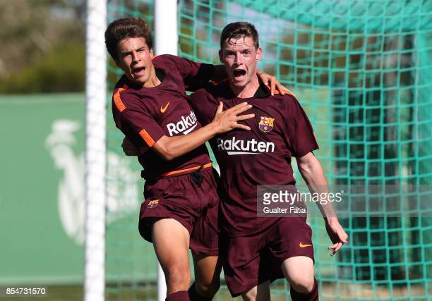 Barcelona Sergio Gomez celebrates with teammate FC Barcelona Ricard Puig after scoring a goal during the UEFA Youth League match between Sporting CP...