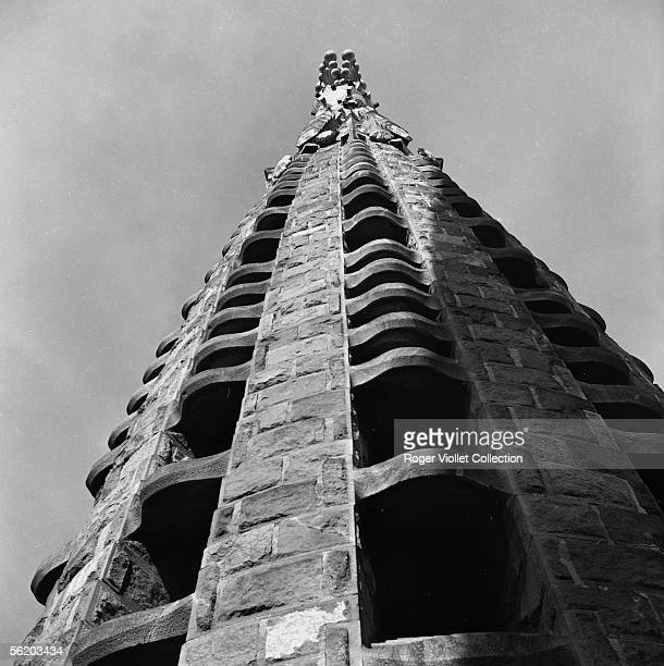 Barcelona . Sight in low-angle shot of the one of the towers-steeple of the votive church of Sagrada Familia . 1970.