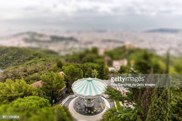 Barcelona skyline and carousel from Tibidabo, Catalunya, Spain