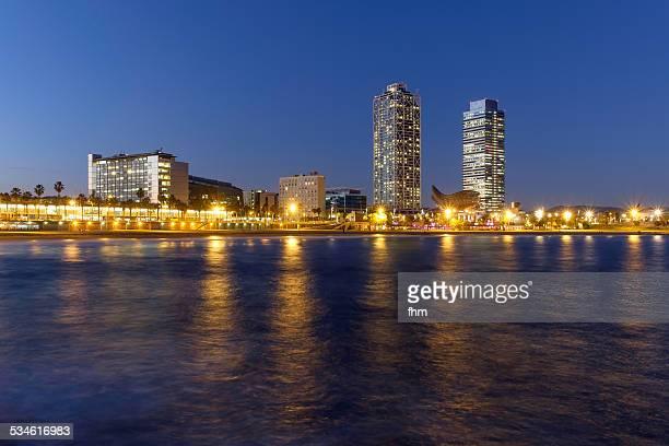 Barcelona skyline at blue hour