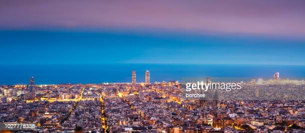 barcelona skyline at night - barcelona spain stock pictures, royalty-free photos & images