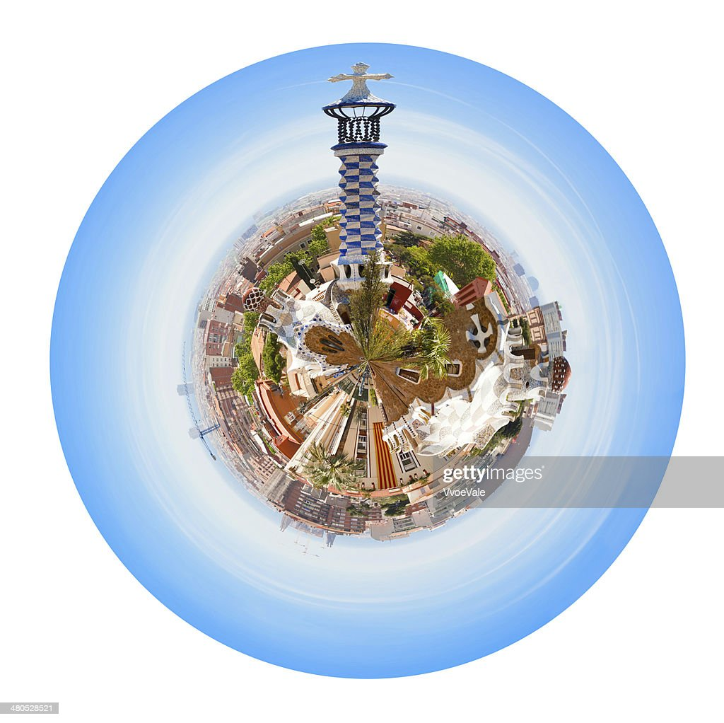 Barcelona skyline from Park Guell : Stock Photo