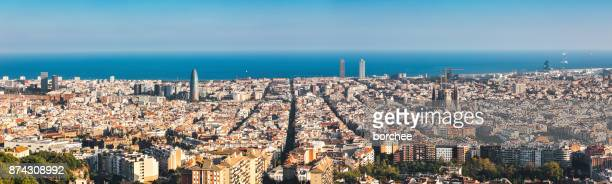 barcelona skyline - barcelona spain stock pictures, royalty-free photos & images