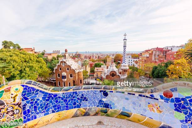 barcelona skyline with colorful buildings on a sunny day, spain - barcelona spain stock pictures, royalty-free photos & images