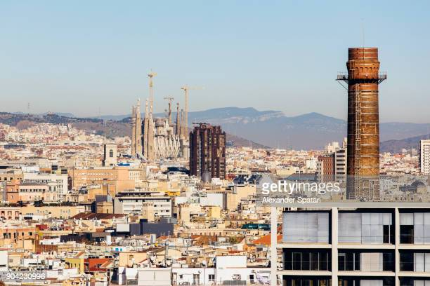 Barcelona skyline with Sagrada Familia cathedral on the left