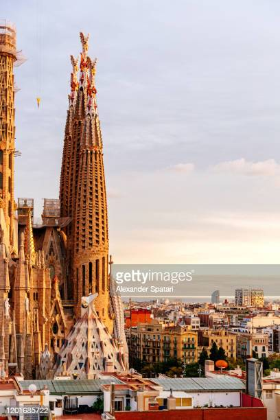 barcelona skyline with towers of sagrada familia cathedral, catalonia, spain - art nouveau stock pictures, royalty-free photos & images