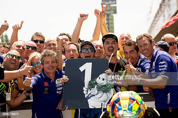 Monster Energy Grand Prix of Catalunya Circuit Montmelo Race day In the picture #46 Valentino ROSSI Movistar Yamaha MotoGP celebrates at the podium...
