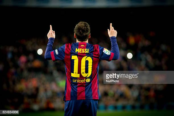 Barcelona, Spain. 8th April 2015 - Leo Messi of Barcelona cellebrates his scoring during the spanish league match between FC Barcelona and UD Almeria...