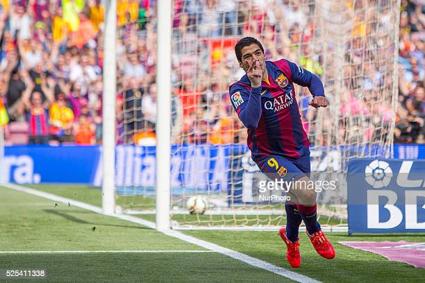 Barcelona Spain April 18 Barcelona's Luis Suarez cellebrates his score during the spanish liga match between FC Barcelona and Valencia CF at Camp Nou...
