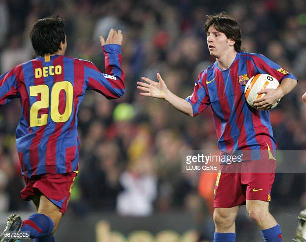 Barcelona's Argentinian Leo Messi celebrates with Deco after scoring against Zaragoza during their Spanish King's Cup football match at the Nou Camp...