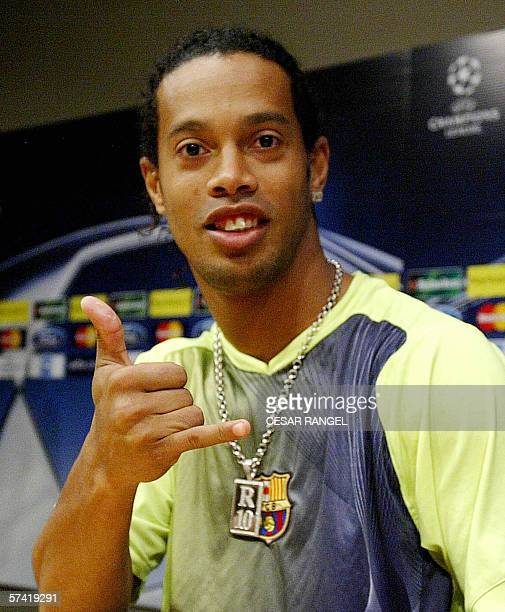 Barcelona's Brazilian playmaker Ronaldinho gestures during a press conference at the Camp Nou stadium in Barcelona 04 April 2006 on the eve of their...