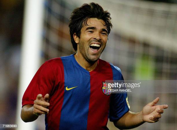 Barcelona's Deco of Portugal celebrates after scoring a goal against Espanyol during their Spanish Supercup Final football match at the Camp Nou...