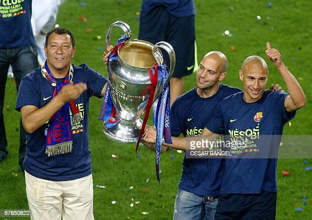Barcelona's Henck Tencate Gabri Garcia and Henrik Larsson celebrate winning the UEFA Champions League at the Camp Nou Stadium in Barcelona 18 May...