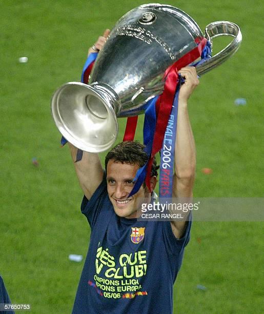 Barcelona's Juliano Belletti celebrates winning the UEFA Champions League at the Camp Nou Stadium in Barcelona 18 May 2006 FC Barcelona won the UEFA...