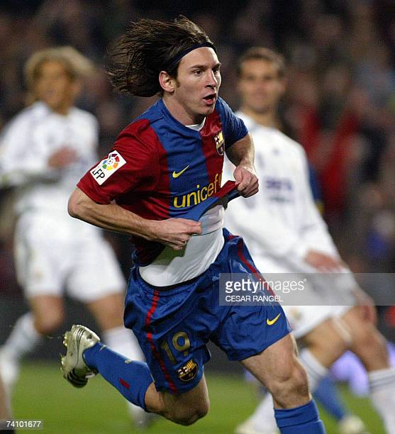 Barcelona's Leo Messi celebrate after scoring against Real Madrid during a Spanish league football match at the Camp Nou stadium in Barcelona 10...